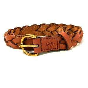 Fossil Skinny Braid Tan Leather Belt